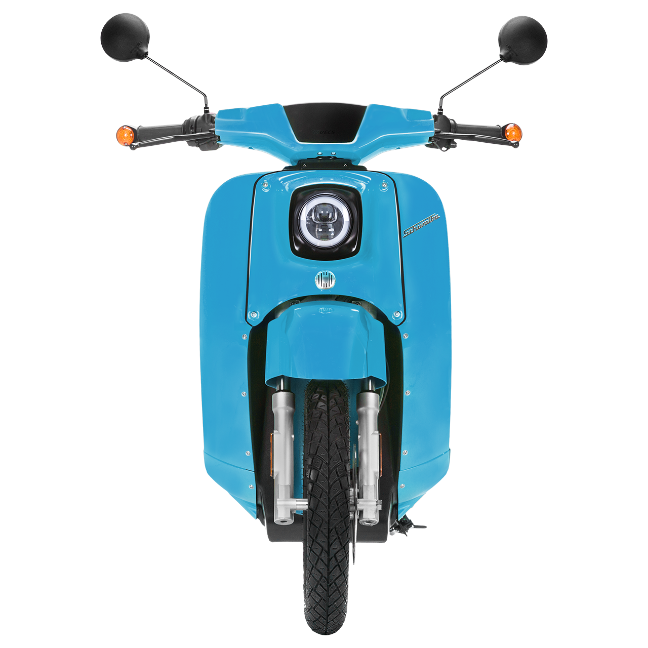 Frontansicht einer lichtblauen E-Schwalbe, ein E-Roller im Angebot des Fahrzeughaus Müller, ihr Partner für E-Mobilität