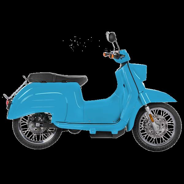 Seitenansicht einer lichtblauen E-Schwalbe, ein E-Roller im Angebot des Fahrzeughaus Müller, Ihr Partner für E-Mobilität