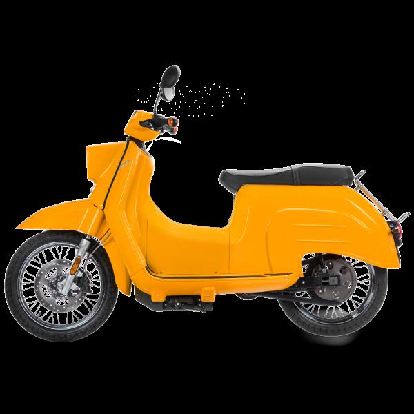 Eine sonnenorange E-Schwalbe in der Seitenansicht, ein E-Roller im Angebot des Fahrzeughaus Müller, Ihrem Partner für E-Mobilität in Südthüringen